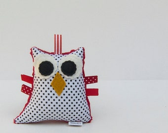 Plush Owl Rattle Baby Toy Stuffed Animal Owl Softie Minky Black White Red Polka Dot
