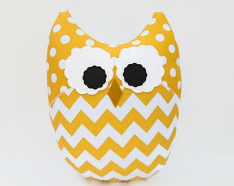 Large Owl Plush Zig Zag Chevron Pillow Minky Yellow White Nursery Decor
