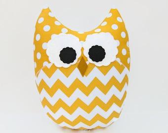 Large Owl Plush Zig Zag Chevron Pillow Minky Yellow White Nursery Decor Ready to Ship