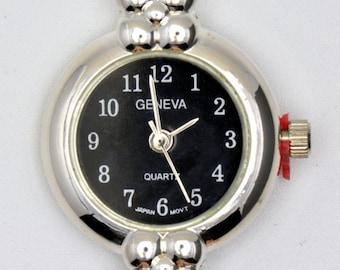 Black Wrist Watch Face | Black Watch Face | Round Watch Face | Silver Watch Face | Womens Watch Face | Ladies Watch Face - WF00088