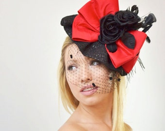 Red and Black  Derby fascinator hat