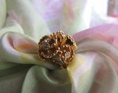 Vintage 18K GE  Flower Cocktail Ring Gold Swarovski  Rhinestone Flower Cocktail Ring/ Spring Flower Ring