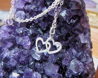 Vintage Two Interlocking Hearts Forever Sterling Silver pendant  2 Hearts Silver Pendant