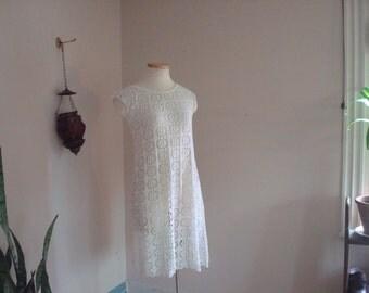 90s cut out white sheer beach dress small