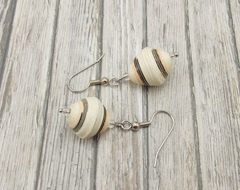 Paper Bead Earrings - Rwandan Paper Beads - Ivory with Brown and Peach Stripes