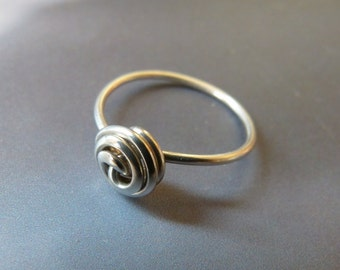 Rose ring, wrapped ring, natural jewelry, Sterling silver ring