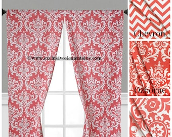 Coral Curtains Etsy - Coral colored curtain panels
