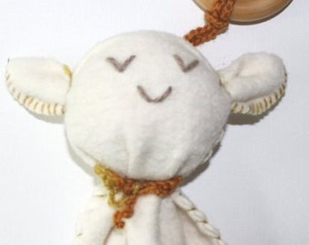 Organic baby cotton Lambie with rattle and wood ring teething toy,baby gift