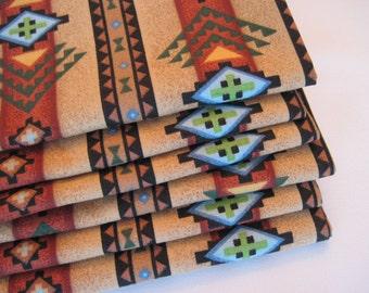 Southwest Napkins Aztec Napkins Brown and Turquoise Napkins Terra Cotta Southwest Napkins southwestern  napkins