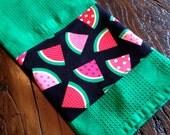Fun Watermelon Polka Dot Striped Fabric-Edged Green Kitchen/Bath/Bar Towel