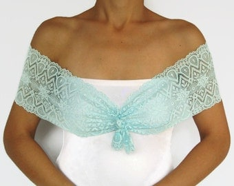Mint Lace Bridal Shrug, Shoulder Wrap, Pastel Teal Stretchy Lace Bolero Top, Unique Design, Romantic Wedding