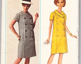 Vintage 1966 Butterick 4501 UNCUT Sewing Pattern Misses' One Piece Dress Size 12-1/2 Bust 33