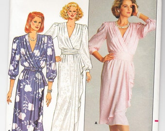 Classic 1986 Butterick 3751 UNCUT Designer Richard Warren Sewing Pattern Misses' Dress Size 16 Bust 38