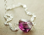 Purple Orchid Heart Necklace in Sterling Silver, Swarovski Crystal Heart Necklace