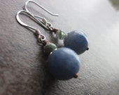 Mixed Gemstone Earrings, Baby Blue Kyanite, Moss Agate, Natural Gemstone Round, Mixed Metal, Sterling Silver, OOAK, Modern, For Her