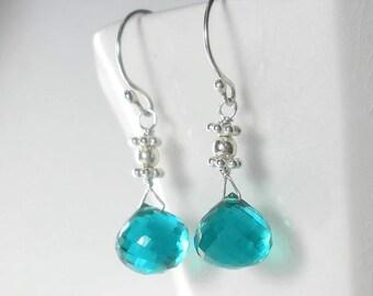 Teal Earrings Teal Drop Earring Teal Briolette Earring Dainty Teal Earrings Sterling Silver