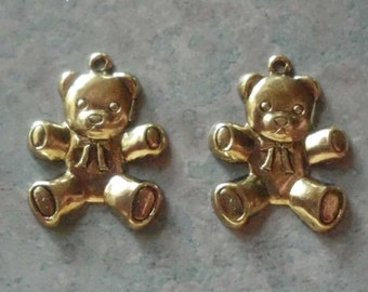 Teddy Bear Charms- Vintage Stampings- Gold Plated-  Brass- Set of 2