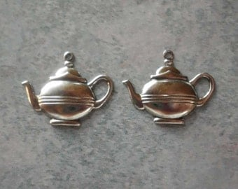 Teapot Charm- Silver Plated- Alice in Wonderland- Vintage Charms- Set of 2