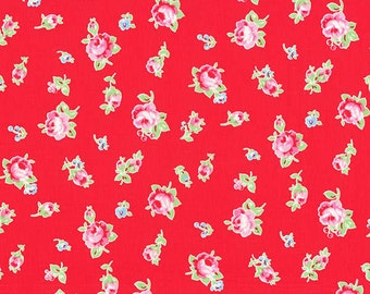 Flower Sugar Fall 2013 Scattered Roses on  Red Cotton Fabric  by Lecien 30843-30