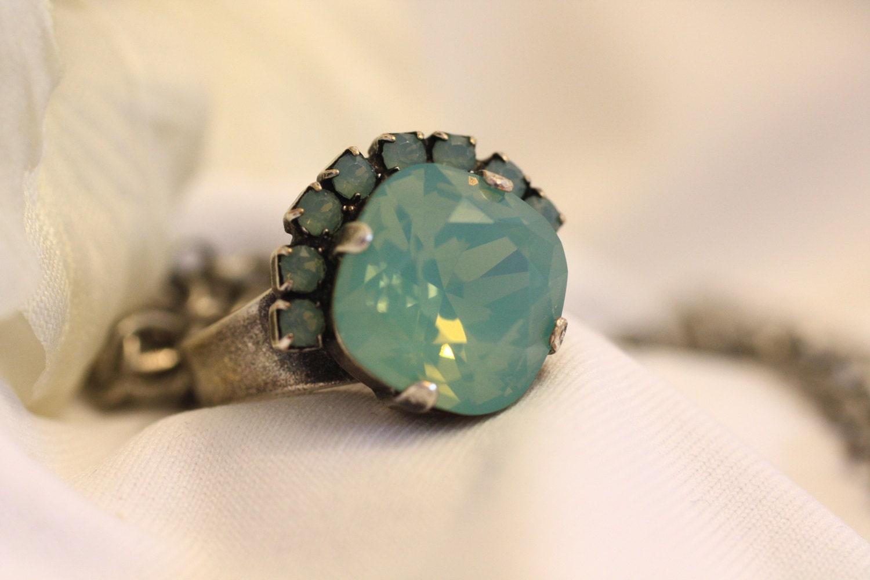 Swarovski Pacific Opal Ring Cushion Cut 12mm Square by gemforjoy