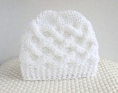 Knit baby beanie, pure white newborn hat, knitted infant hat, celtic knot  boy or girl baby hat. Infant hat by choose color
