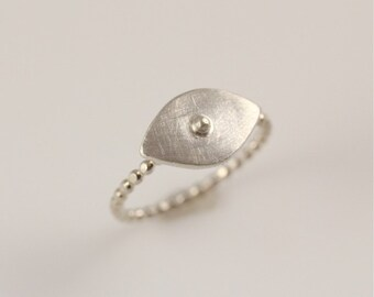 Sterling Silver Eye Ring- beaded ring band with matte finish tiny eye setting