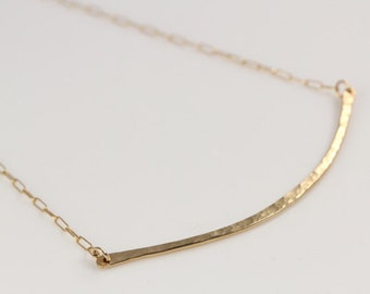 Hammered Gold Bar Necklace- medium curved bar with gold chain