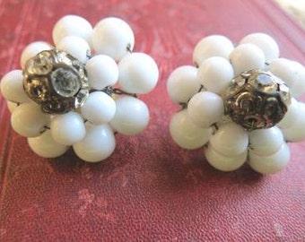 Vintage 1960s White Cluster Bead Ball Clip Back Earrings