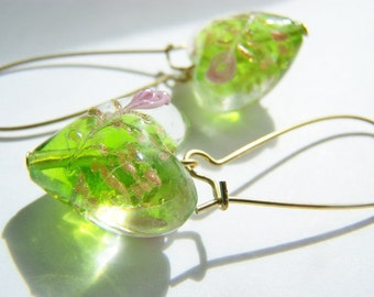 Grow Love - Glass Heart Earrings - FREE SHIPPING WAI - green glass hearts with pink roses on Long Brass Wires - Spring - love Valentines Day