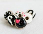Polymer Clay Black & Pink Donut Pushpins