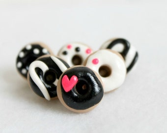 Polymer Clay Black & Pink Donut Pushpins