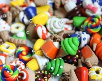 Polymer Clay Dessert Charms, Assorted Food Charms, Set of 100 Polymer Clay Food Charms