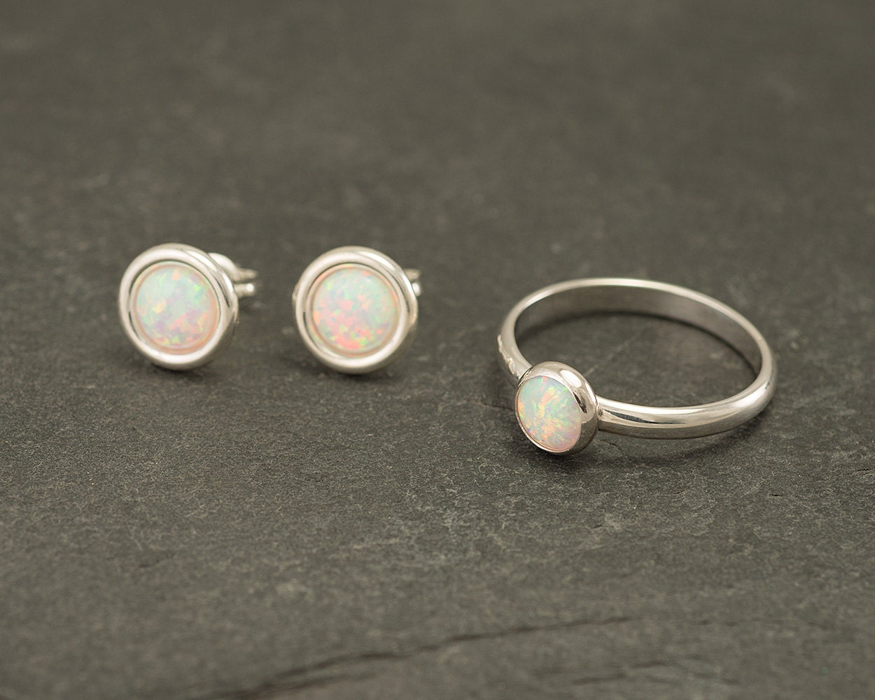 opal ring silver opal ring solitaire ring opal