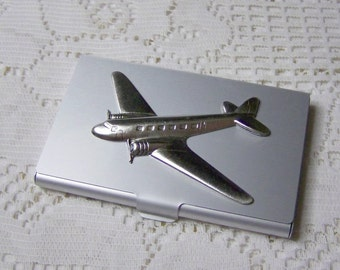 Airplane Card Case -Matte Aluminum Card Case - DC-3 Airplane - Aviation - Silver - Gifts for Men - Credit Card - Business Card