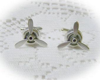 Spinning PROPELLER Silver Cuff Links - STEAMPUNK - Airplane Pilot - Aviator - Sky Pilot cufflinks
