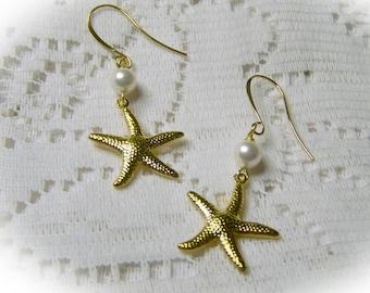 Gold Starfish and Pearls Earrings - Beach Wedding - Bridesmaids Gifts - Starfish - Sea Star