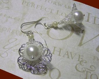Calla Lily Earrings - Victorian Filigree Pearl Earrings - Silver - Wedding Earrings - White or Cream Pearls - Bridal Jewelry