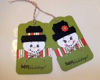 Happy Holidays snow people gift tags