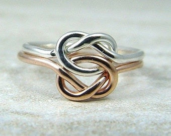 Double Love Knot Ring / Promise Ring / Wedding Ring / Rose Gold Filled Love Knot Ring / Celtic Knot Ring / Sisters Ring / Friendship Ring