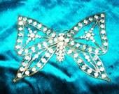 1920s Rare Art Deco Paste Rhinestone Butterfly Applique Ideal for Cuffs, Flapper headbands, dress trim