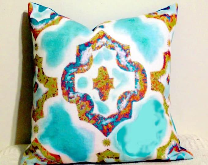Aqua Moroccan Throw Pillow, Decor Throw Pillow Cover, 16 inch Cover, Sofa Pillows, Room Decor