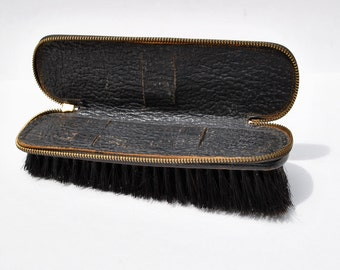 Vintage 1950s men's suit brush, leather clothes brush, zipper top to hold grooming tools