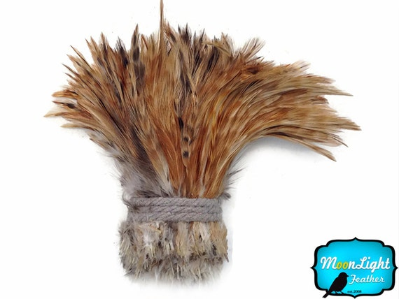 Rooster Feathers, 1 Yard - RED CHINCHILLA Strung Rooster Neck Hackle Wholesale feathers (bulk) : 3617