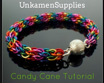 Candy Cane Bracelet Tutorial - Bright Rainbow Version - Advanced Chainmaille PDF