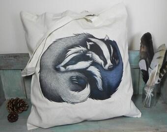 Badger Couple Illustration Eco Tote Bag ~ 100% Cotton Long Handles