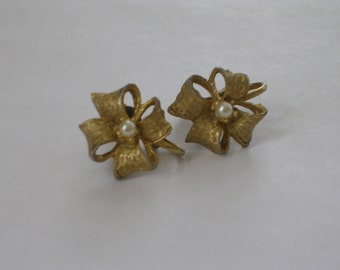 Gold Vermeil Flower Earrings with Seed Pearls