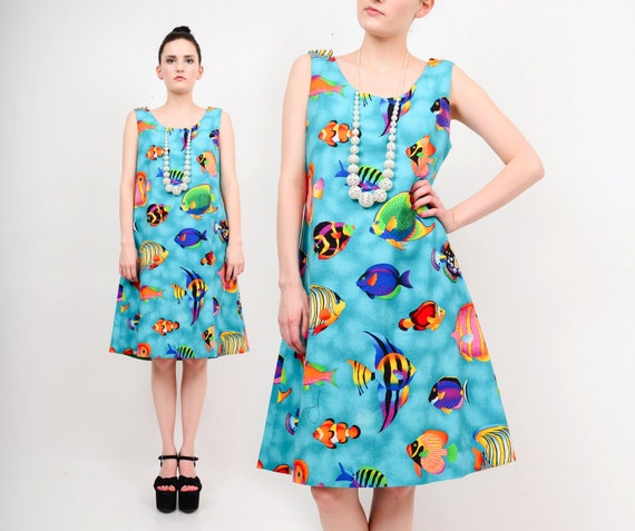 90s colorful tropical fish novelty print sea life kitsch for Fish print dress
