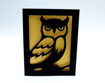 Owl Greeting Card Gold & Black Silhouette Cut Paper Bird Art
