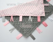 Personalized Tag Ribbon Blanket Lovey - Gray Minky with Light Pink with White Chevron Satin