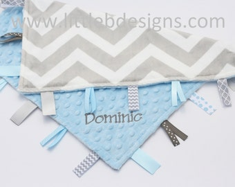 Gray and White Chevron Minky with Light Blue Tag Blanket  Ribbon Lovey - Personalized